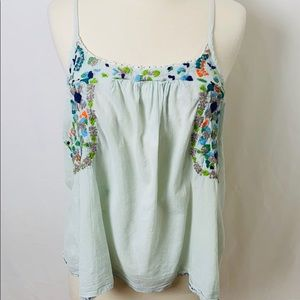 Free People Tank Embroidered